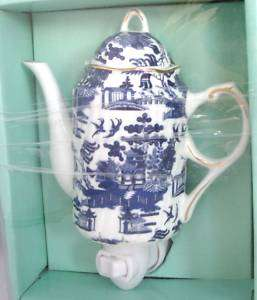 NIGHTLIGHT COBALT BLUE PRINT CHINA COFFEE TEA POT+BOX