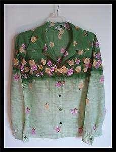 Vtg 70s Retro funky Hipster Polyester Shirt Green Garden Printl L XL