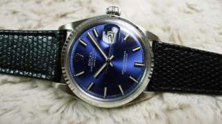 ROLEX OYSTER DATEJUST REF.1601 BLUE DIAL 18K WG / SS RARE INDEX 1972 N
