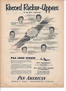 1953 Pan American Airline Model Airplane Ad / PAA Nationals/ USNAS