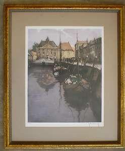 Roger Hebbelinck, Listed, Belgium art, Vintage signed etching in