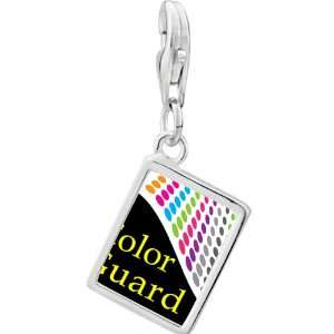Silver Gold Plated Travel Color Guard Photo Rectangle Frame Charm
