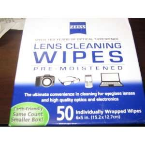 Zeiss Pre moistened Lens Cloths Wipes 50 Count Sports