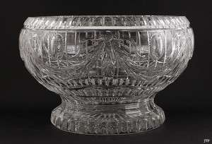 FINEST QUALITY CUT GLASS FLORAL CENTERPIECE PUNCH BOWL