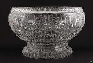 FINEST QUALITY CUT GLASS FLORAL CENTERPIECE PUNCH BOWL