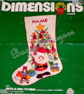 Dimensions SANTA & TREE Crewel Christmas Stocking Kit   RARE