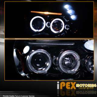 Glossy Pearl Black Dual Halo LED Projector Head Light Lamp
