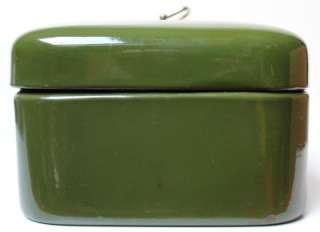 Antique Dutch Dark green enamel bread bin1920s.