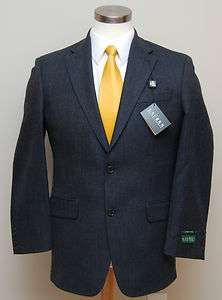 MENS RALPH LAUREN NAVY BLUE LAMBS WOOL SPORTS COATS RETAIL $375