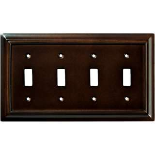 Wood Architectural Quad Switch Wall Plate, Espresso Electrical