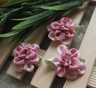 200/40 Fancy 2tone satin ribbon flower Appliques Craft/Wedding DIY U