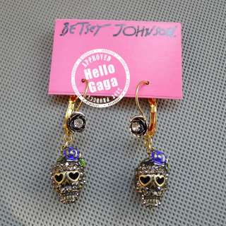BLACK CRYSTAL SKULL ROSE BETSEY JOHNSON DROP EARRINGS