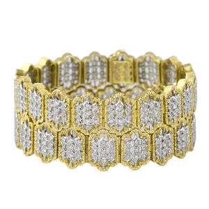 BUCCELLATI Pair 2 18k White Gold Diamond Bracelets