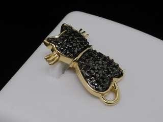 LADIES 14K YELLOW GOLD BLACK DIAMOND CAT ANIMAL PENDANT