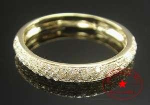 ROW PAVE SET 10K YELLOW GOLD NATURAL DIAMOND WEDDING RING BAND