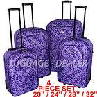 Piece Luggage Set Rolling Wheeled PURPLE Letters Hard Back Expandable
