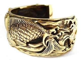 JAPANESE LUCKY KOI CARP FISH GOLD BRASS BIG BANGLE BRACELET JAPAN