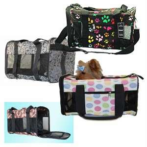 Pet Carrier Dog Cat Travel Bag Airline Approved Multi Color Dot Nylon