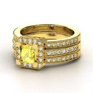 Va Voom Ring, Princess Yellow Sapphire 14K Yellow Gold Ring with