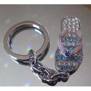 Flip Flop Sandal Keychain with Swarovski Crystal Rhinestones
