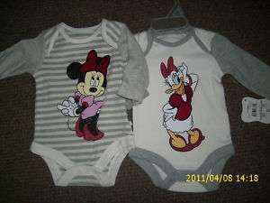 SET OF 2 BABY GIRL DISNEY ONESIE OUTFIT NEW
