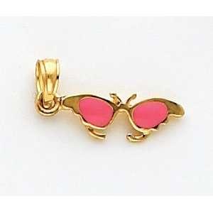 Pink Enameled Sunglasses Charm, 14K Yellow Gold Jewelry