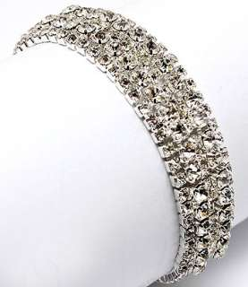 Bridal Jewelry Crystal Rhinestone Bracelet White 5 Row