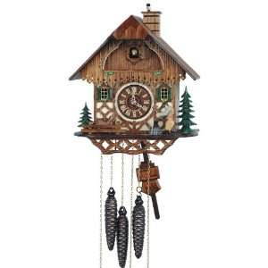 Cuckoo Clock Black Forest house with moving beer drinker and chimney