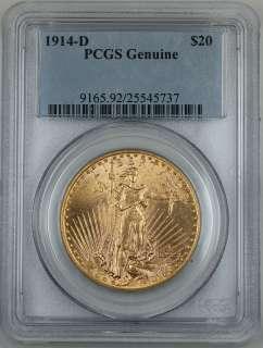 1914 D $20 St. Gaudens Gold Double Eagle, PCGS Genuine (Choice BU