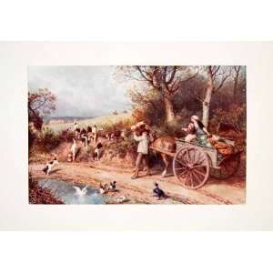 1906 Color Print Myles Birket Foster Hunting Hound Dog