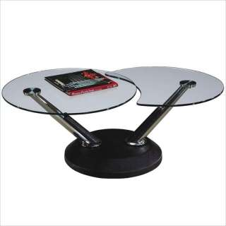 ADORABLE MODERN SWIVEL ROUND GLASS COFFEE TABLE NEW