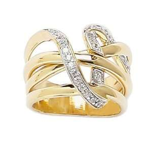 18K Gold Plated Clear Cubic Zirconia Luxurious Lace Knot Band Ring