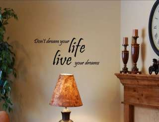 LIVE YOUR DREAMS Vinyl wall quotes lettering saying art