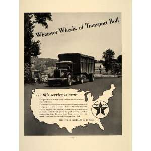 1937 Ad Texaco Oil Gasoline Texas Company Semi Truck