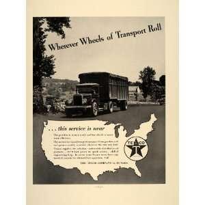 1937 Ad Texaco Oil Gasoline Texas Company Semi Truck