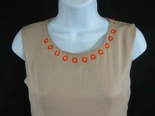 BOTTEGA VENETA Beige Orange Circle Embellished Dress