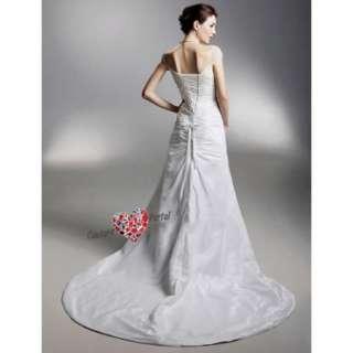 line Off shoulder Court Train Taffeta Wedding Dress