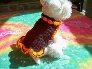Dog Apparel BLACK Sweater w/SOFT PUMPKIN Ruffles XXS