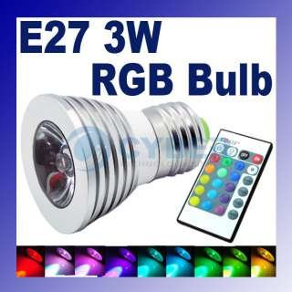 E27 3W 16 Color RGB LED Light Lamp Bulb 85 265V Remote Control