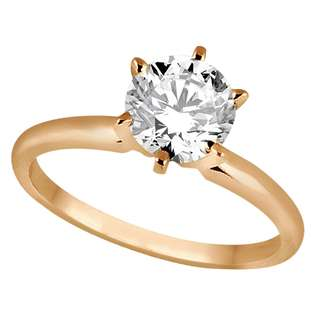 Allurez Six Prong 18k Rose Gold Solitaire Engagement Ring Setting