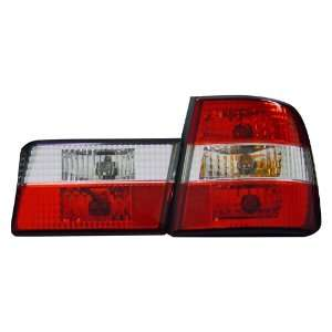 BMW 5 SERIES E34 88 94 TAIL LIGHTS RED & CLEAR CRYSTAL LENS