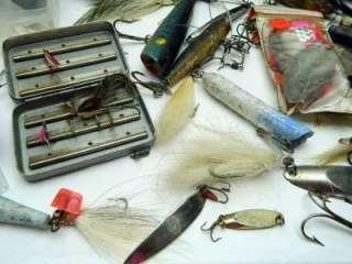 Junk Drawer Vintage fishing lot lures flies rods reels hooks poles