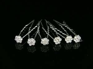 Bridal Party Wedding Veil Crystal Flower Hair Pins