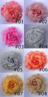 glistens Lady chiffon Rose Flower Hair Clips Brooch 8 colours