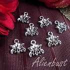 50 pcs antique silver 10mmx10mm flower charm pendants