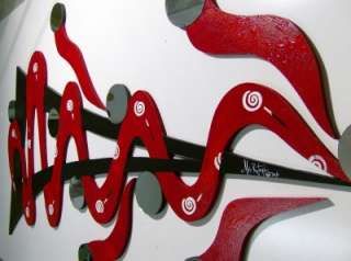 HUGE Red MODERN ABSTRACT WALL SCULPTURE WITH MIRRORS