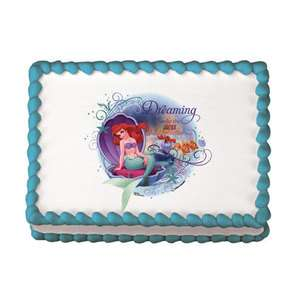 ARIEL Little Mermaid Dreaming Cake Edible Image Topper LUCKS Allergen