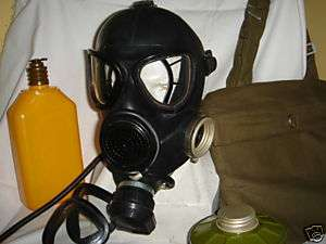 Russian USSR military black rubber gas mask PMK, new