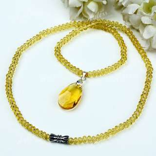 Crystal Glass Necklace With Faceted Teardrop Bead Pendant Free Ship