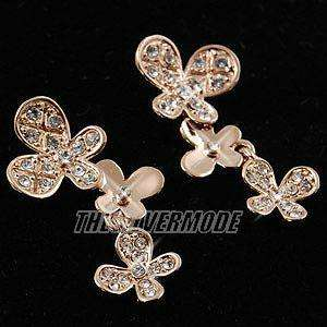 18K Rose Gold Plated Butterfly Dangling Earring 11303